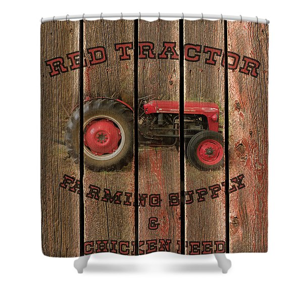 Red Tractor Farming Supply Shower Curtain