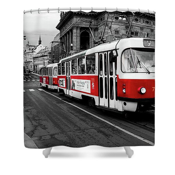 Prague - Red Tram Shower Curtain