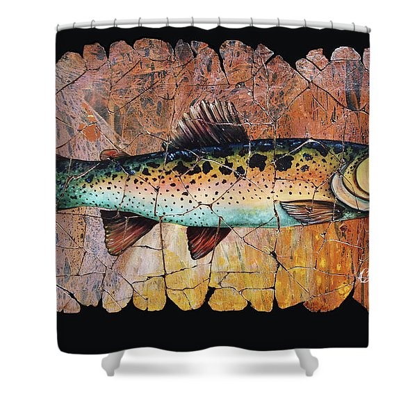 Red Trout Fresco Shower Curtain