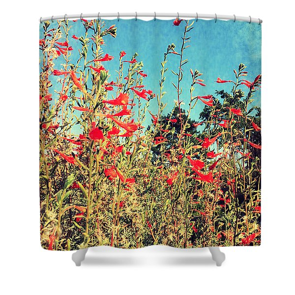 Red Trumpets Playing Shower Curtain