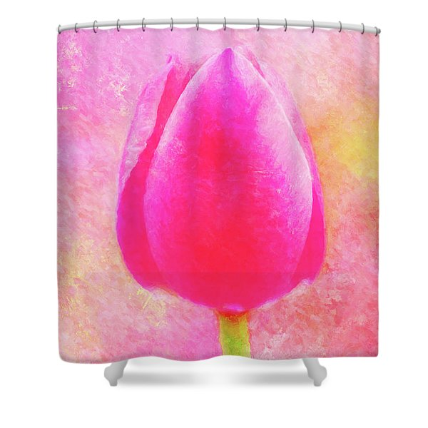 Red Tulip Dressed For Spring Shower Curtain