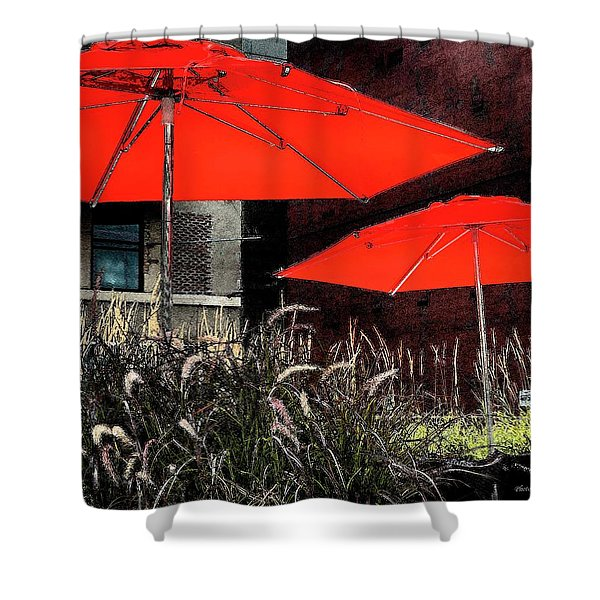 Red Umbrellas In Chicag Shower Curtain