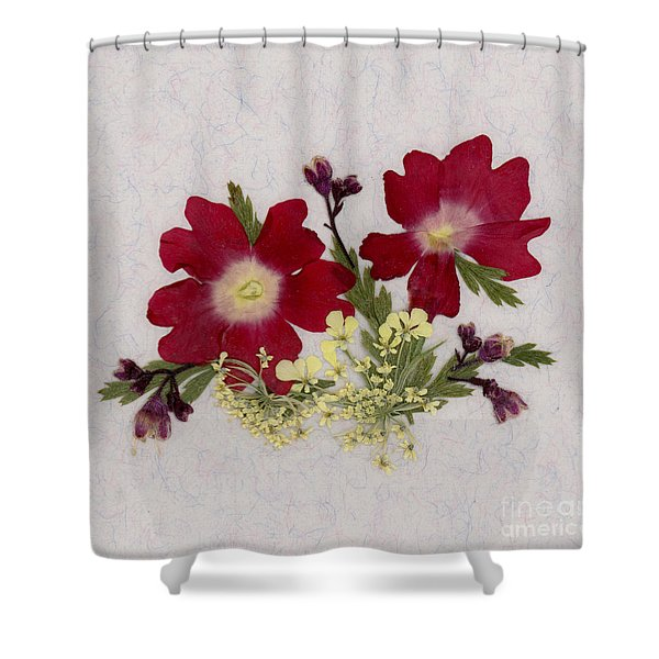 Red Verbena Pressed Flower Arrangement Shower Curtain