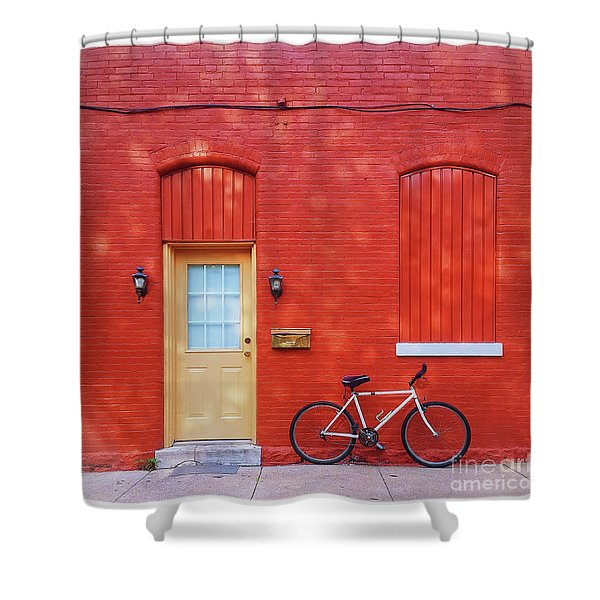 Red Wall White Bike Shower Curtain