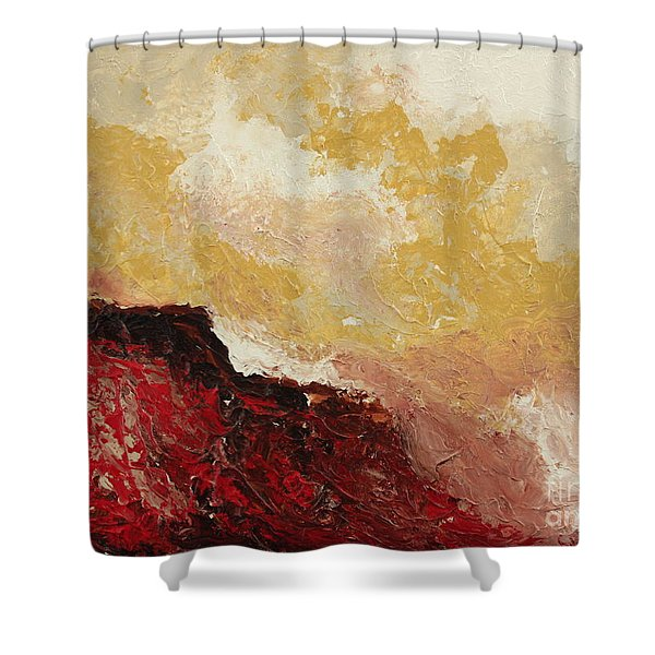 Red Waves Shower Curtain