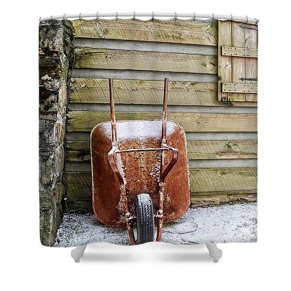 Red Wheelbarrow Shower Curtain