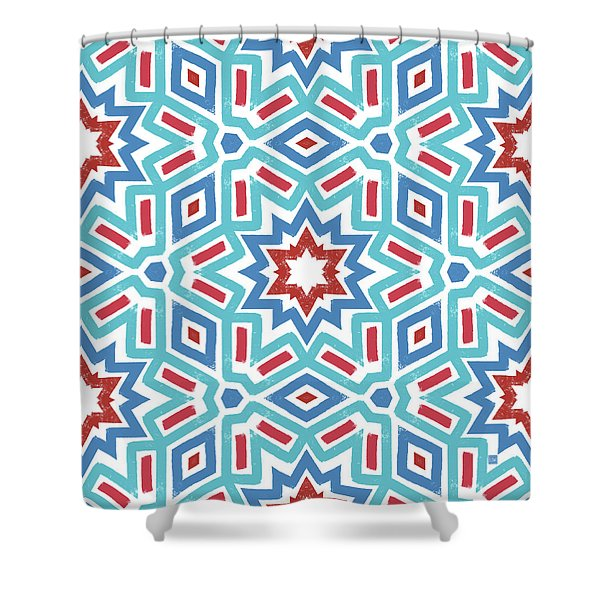 Red White And Blue Fireworks Pattern- Art By Linda Woods Shower Curtain