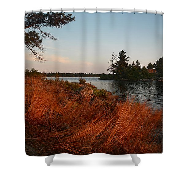 Red Wild Grass Georgian Bay Shower Curtain