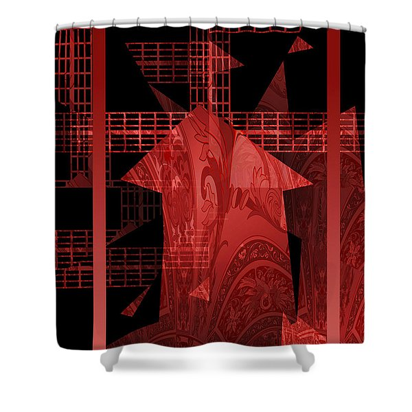 Shower Curtain featuring the photograph Red Windmill Abstract by Robert G Kernodle