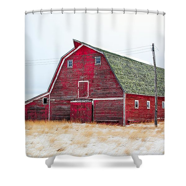 Red Winter Barn Shower Curtain