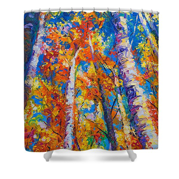 Redemption - Fall Birch And Aspen Shower Curtain