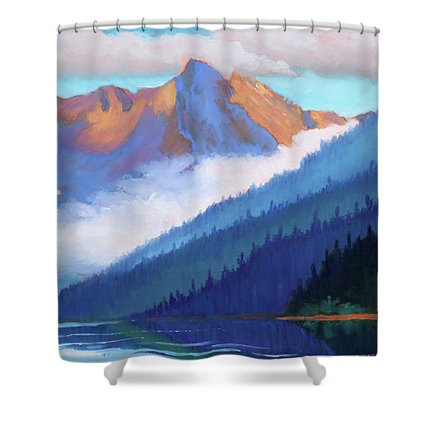 Redfish Lake - Low Clouds Shower Curtain