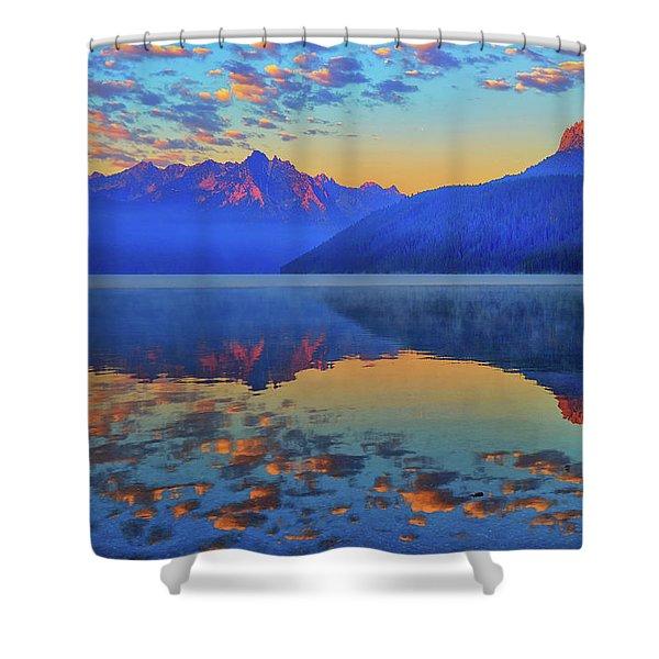 Redfish Lake Morning Reflections Shower Curtain