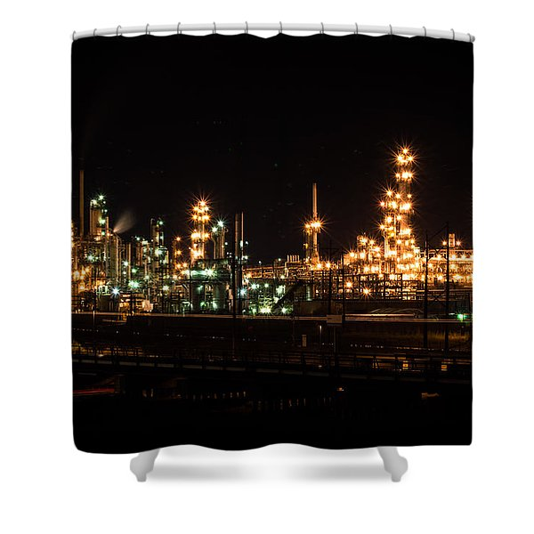 Refinery At Night 3 Shower Curtain