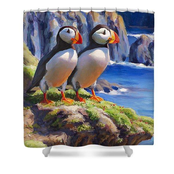 Horned Puffin Painting - Coastal Decor - Alaska Wall Art - Ocean Birds - Shorebirds Shower Curtain