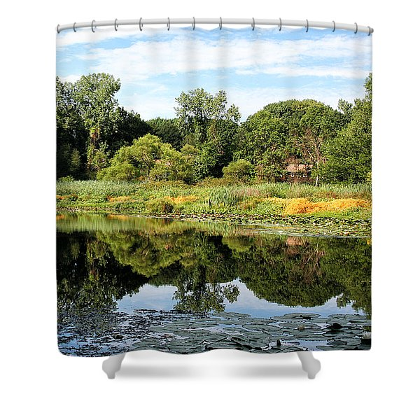 Shower Curtain featuring the photograph Reflecting On A Summer Morning by William Selander