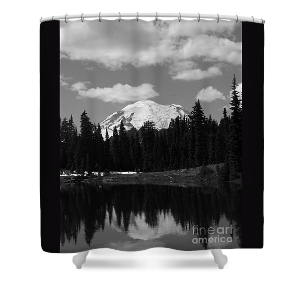 Shower Curtain featuring the photograph Mt. Rainier Reflection In Black And White by Charles Robinson