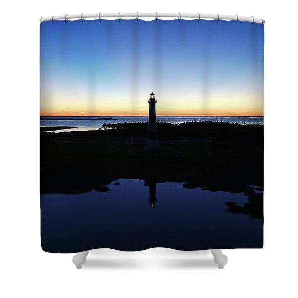 Reflection Of Bodie Light At Sunset Shower Curtain