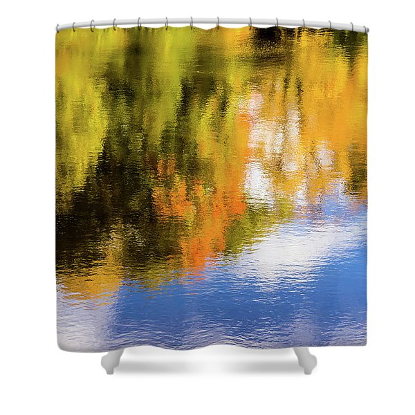 Reflection Of Fall #2, Abstract Shower Curtain
