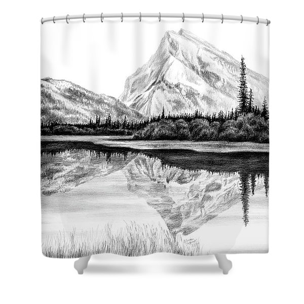 Reflections - Mountain Landscape Print Shower Curtain