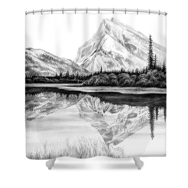 Reflections - Mountain Landscape Print Shower Curtain