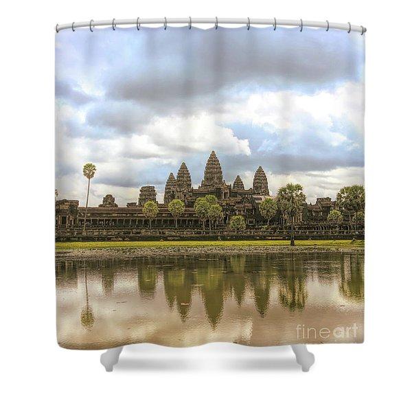 Reflections Angkor Wat Panorama  Shower Curtain