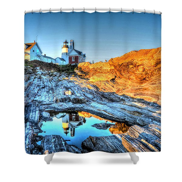 Reflections At Pemaquid Point Shower Curtain