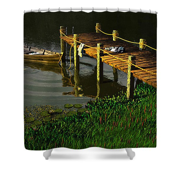 Reflections In A Restless Pond Shower Curtain