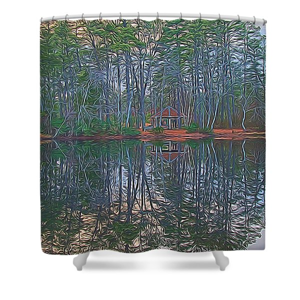 Reflections In The Pines Shower Curtain