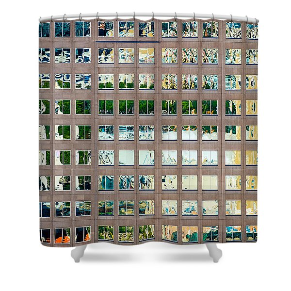 Shower Curtain featuring the photograph Reflections In Windows Of Office Building by Bryan Mullennix