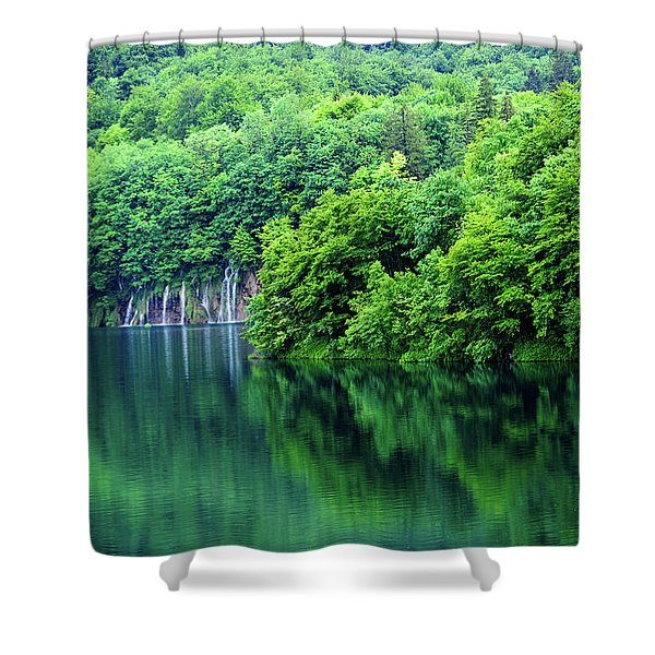 Reflections Of Plitvice, Plitvice Lakes National Park, Croatia Shower Curtain