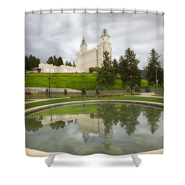 Reflections Of The Manti Temple At Pioneer Heritage Gardens Shower Curtain