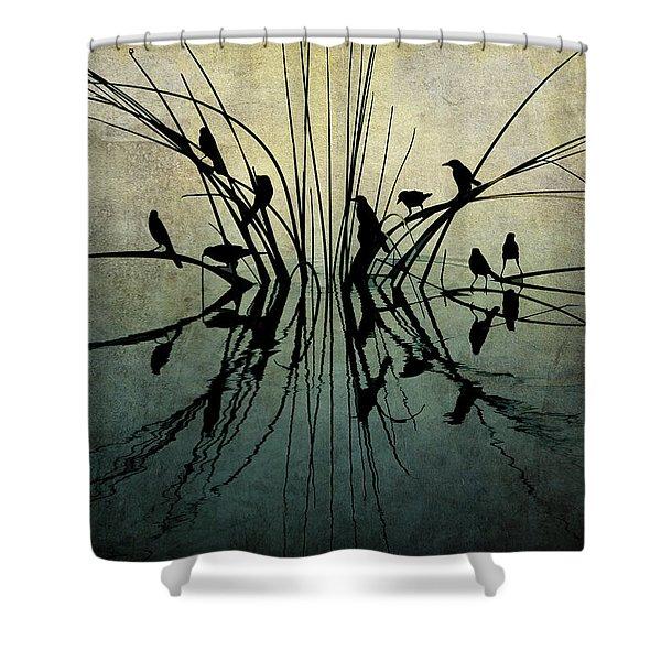 Reflective Grunge Shower Curtain