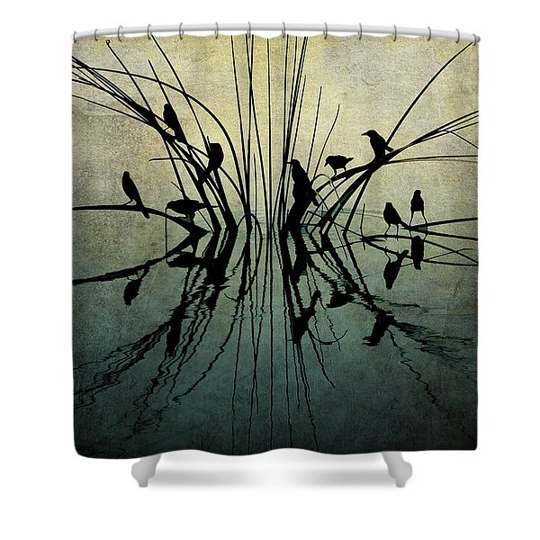 Reflective Grunge Shower Curtain