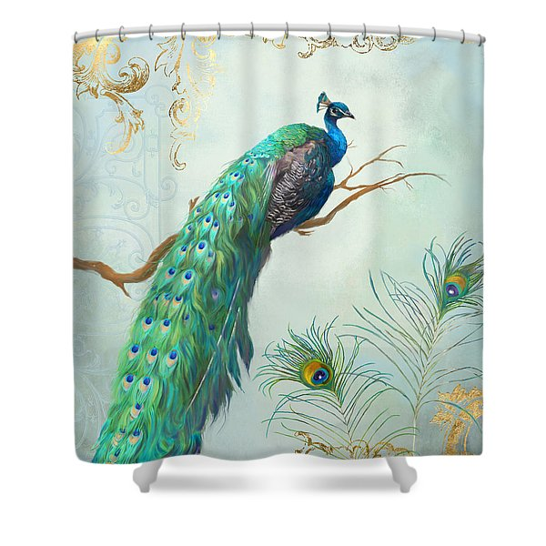 Regal Peacock 1 On Tree Branch W Feathers Gold Leaf Shower Curtain