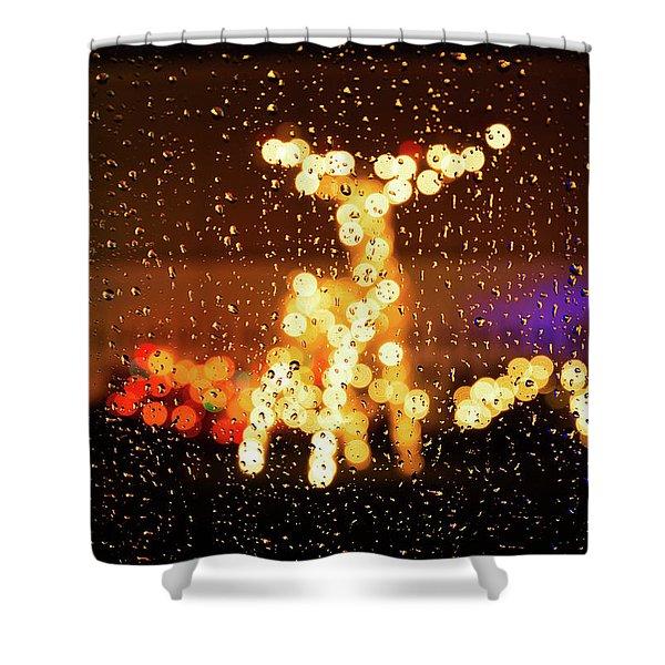 Reindeer Bokeh Shower Curtain