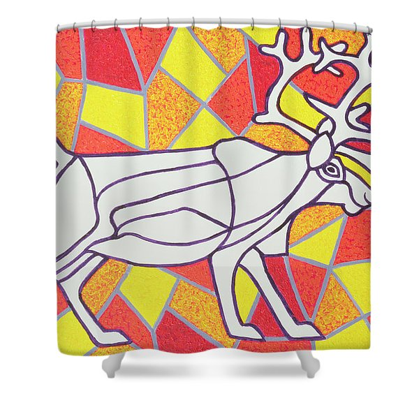 Reindeer On Stained Glass  Shower Curtain