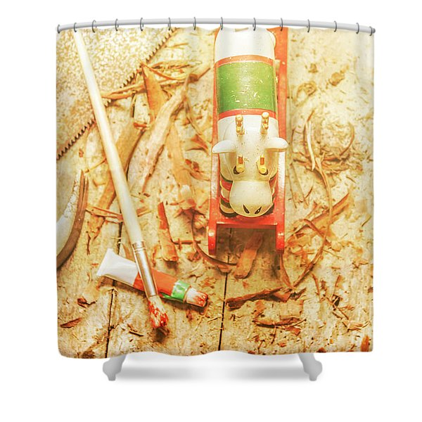 Reindeer With Tools And Wood Shavings Shower Curtain