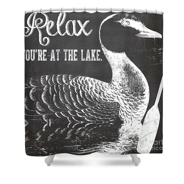 Relax Lake House Duck Sign Shower Curtain