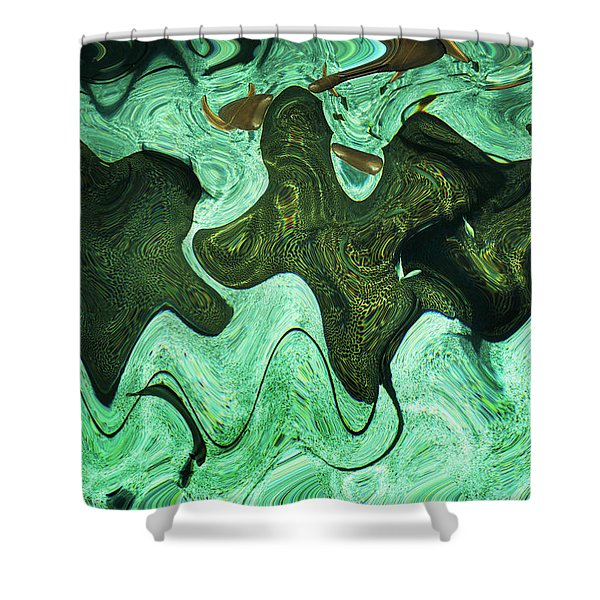 Relaxing Abstract Of Rays And Sharks Shower Curtain