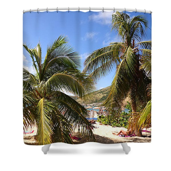 Relaxing On The Beach. Pinel Island Saint Martin Caribbean Shower Curtain