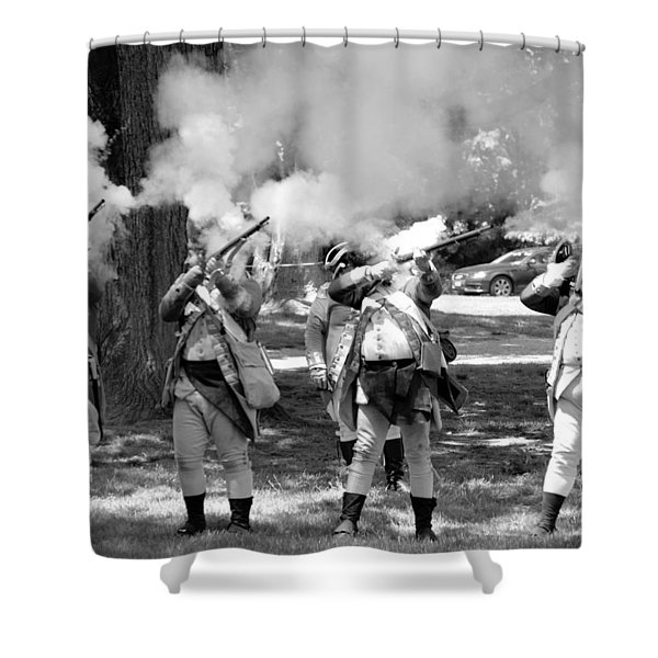 Reliving History-bw Shower Curtain
