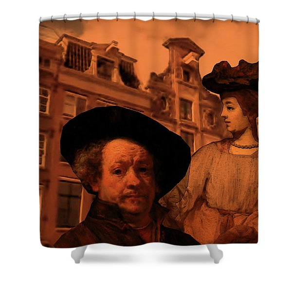 Shower Curtain featuring the digital art Rembrandt Study In Orange by Tristan Armstrong