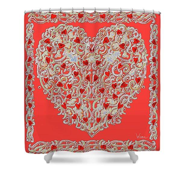 Renaissance Style Heart Shower Curtain