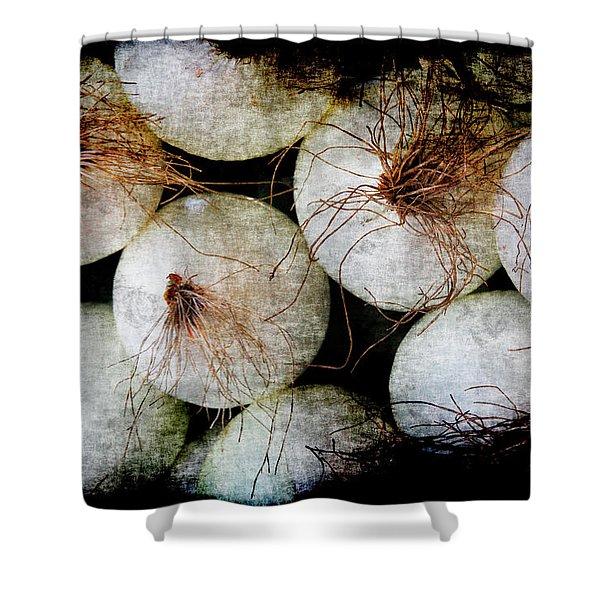 Renaissance White Onions Shower Curtain