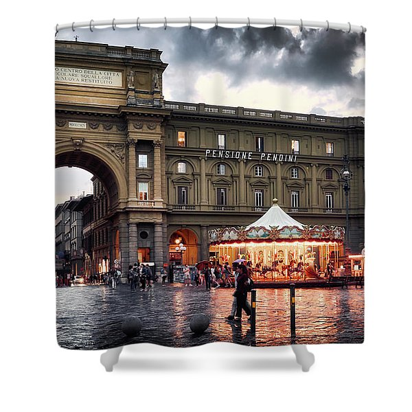 Republic Square In The City Of Florence Shower Curtain