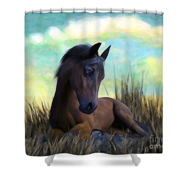 Shower Curtain featuring the painting Resting Foal by Sandra Bauser Digital Art