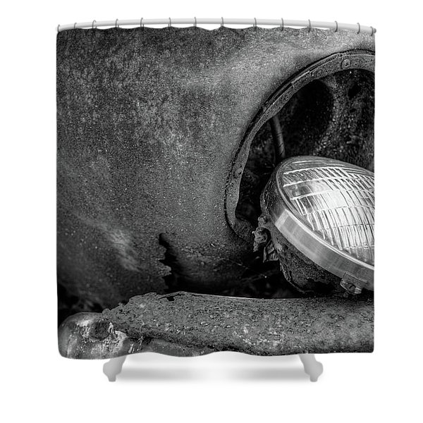 Resting Headlight Of Rusty Car Shower Curtain