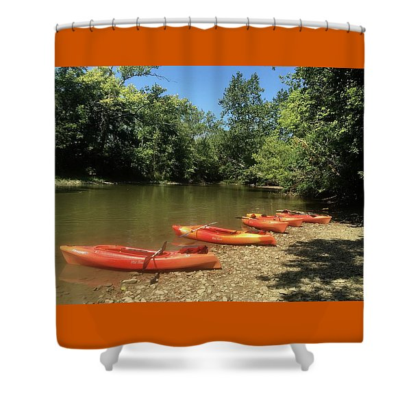 Resting Kayaks Shower Curtain