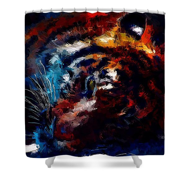 Shower Curtain featuring the painting Resting Tiger by Mark Taylor